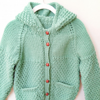 Child's Moss Stitch Hooded Jacket, Gift Ideas for Baby, Chunky Jacket