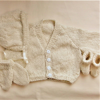 Knitted 4 Piece Baby's Classic Cardigan Set, Baby Shower Gift, Gifts for Baby