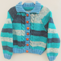 Children's Cabled Aran Unisex Cardigan, Gift Ideas for Babies and Children