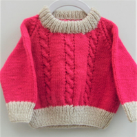 Hand Knitted Baby's Cabled Sweater, Gift Ideas for Baby, Baby Shower Gift