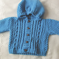 Hand Knitted Cable and Moss Stitch Hooded Aran Weight Jacket, Birthday Gift