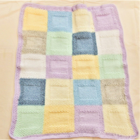 Hand Knitted Patchwork Baby Blanket Made With Aran Yarn, Coming Home Blanket
