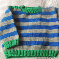 Baby's Hand Knitted Striped Sweater, Baby's Knitted Jumper, Gift Ideas for Baby