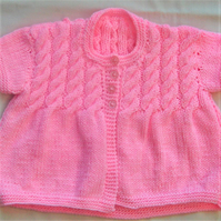 Girl's Knitted Cable Yoke Cardigan, Children's Clothes, Children's Gift Ideas