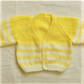 Baby's Knitted Cardigan with Yellow Stripes, Baby Shower Gift, Baby Gift