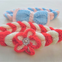 Plaited Headband with Bow or Flower Decoration, Baby Girl's Gift