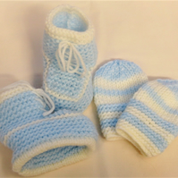 Knitted Trainer Boots & Mittens Set for Baby, Gift Ideas for Baby