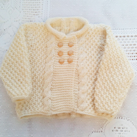 Baby's Aran Weight Cabled Frock Coat, Baby Shower Gift, New Baby Gift