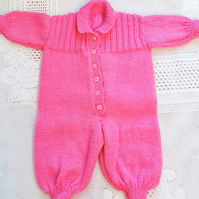 Baby's Long Sleeved All In One, Knitted Babygrow, New Baby Gift