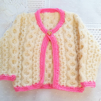 Single Button Cabled Cardigan for a Girl, Girl's Aran Cardigan, Baby Shower Gift