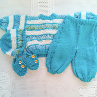Baby's 4 Piece Trousers, Jumper, Hat and Shoes Set, Baby Shower Gift