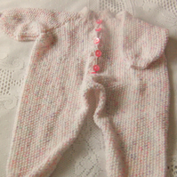 Babies Hand Knitted Play Suit, All in One Pram Suit, Baby Shower Gift