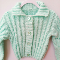 Girl's Lacy Rib Cardigan with a Collar, Toddlers Cardigan, Children's Gift