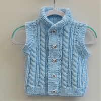 Hand Knitted Baby's Cabled Waistcoat with Stand-Up Collar, Gift Ideas for Baby