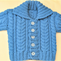 Unisex Knitted Cabled Cardigan with a Collar, Baby Shower Gift, New Baby Gift