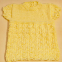 Hand Knitted Dress With a Patterned Skirt For A Baby Girl, Baby Shower Gift