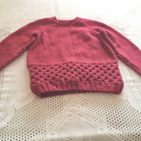 Children's Hand Knitted Jumper with a Honeycomb Pattern, Children's Clothes