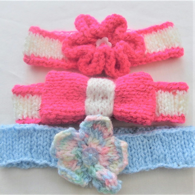 Baby's Knitted Ribbed Headband with Flower or B... - Folksy
