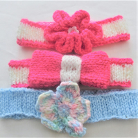 Baby's Knitted Ribbed Headband with Flower or Bow Decoration, Photo Shoot Prop