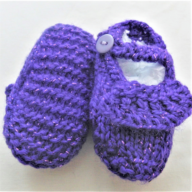 Purple Knitted Baby Shoes, Frilly Shoes, Baby Shower Gift, New Baby Gift