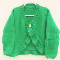 Girl's Curved Front Hand Knitted Cardigan With a Frill, Girl's Clothes