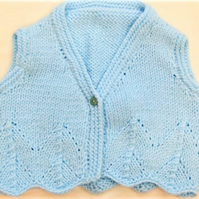 Girls Hand Knitted Sleeveless Aran Waistcoat, Knitted Girls Clothes