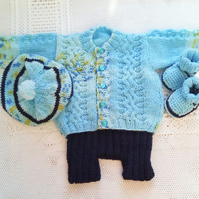 4 Piece Shorts Cardigan Hat and Bootees Set, Baby Shower Gift