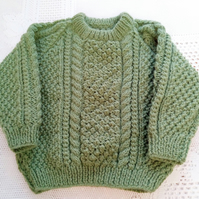 Cable Pattern Child's Jumper with Round Neck, Children's Clothes, Winter Jumper