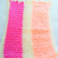 Hand Knitted Striped Blanket Made With Aran Yarn, Baby Shower Gift