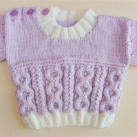 Cabled Sweater for Baby, Hand Knitted Aran Sweater, Baby Shower Gift