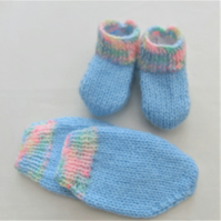 Hand Knitted Baby Mittens and Boots Set, Baby Shower Gift
