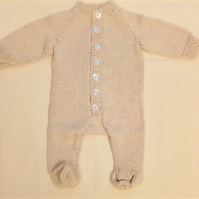 Hand Knitted Unisex Baby Grow for Premature Babies, New Baby Gift