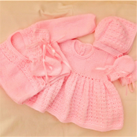 5 Piece Hand Knitted Dress Set for a Baby Girl, Knitted Baby's Outfit