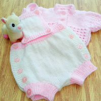 Baby's Romper and Cardigan Set, Hand Knitted Baby Outfit, Baby Shower Gift