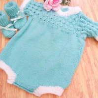 Babys Short Sleeved Romper Suit and Booties Set For a Boy or Girl, Baby Gift