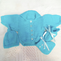 3 Piece Knitted Cardigan Set for a Premature Baby, Premature Baby Outfit