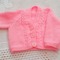 Baby's Hand Knitted Cardigan, Baby Shower Gift, New Baby Gift