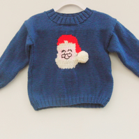Hand Knitted Santa Jumper for Babies and Children, Baby's Novelty Jumper
