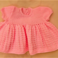 Premature Baby Girl's Knitted Dress with a Full Skirt, Prem Baby's Dress
