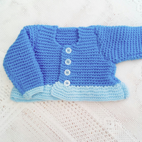 Shades of Blue Cardigan for a Baby Girl, Baby Shower Gift, New Baby Gift