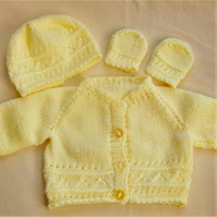Hand Knitted Cardigan Set for a Premature Baby Girl, New Baby Gift