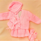 Hand Knitted Dress Set for a Premature Baby Girl, Premature Baby Clothes