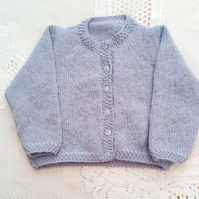 Classic Hand Knitted Cardigan for a Premature Baby, New Baby Gift