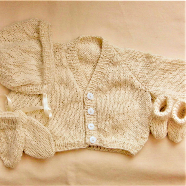 Knitted 4 Piece Cardigan Set for a Premature Baby, Premature Baby Clothes