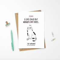 Personalised Funny Mother's Day Cat Card for Animal Lover Mum