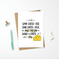 Personalised Funny Valentine's Day Cheese Card Roses are Red Poem