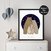 Framed FOILED Personalised Bear Family Poster Cute Wall Art Nursery Kids Decor