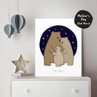 FOILED Personalised Bear Family Wall Art Cute Poster for Nursery Kids Decor