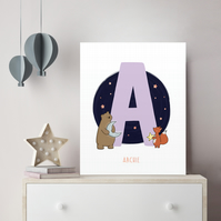 FOILED Personalised Children's Name Print with Woodland Animal Theme