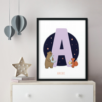 Framed FOILED Personalised Children's Name Woodland Theme Print